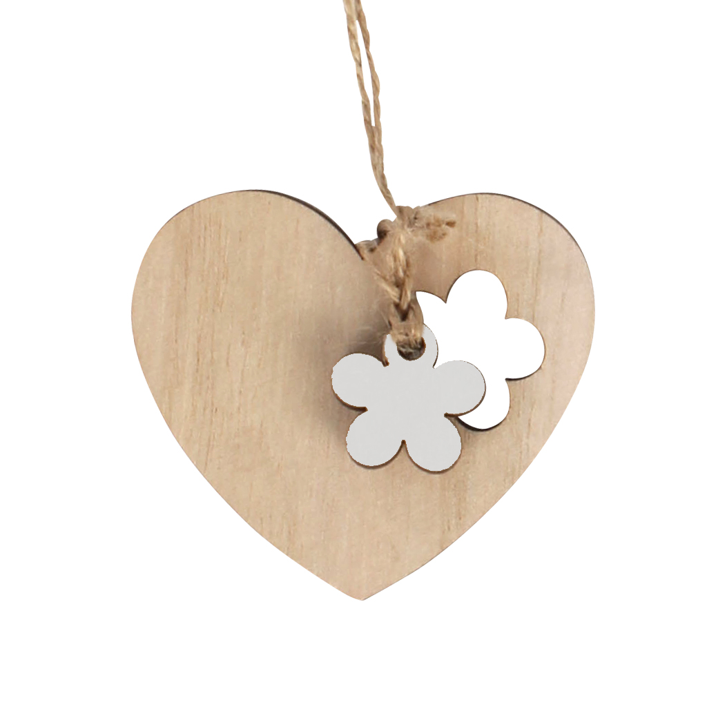 Pendant heart flower wood 6x7+16cm jute rope white